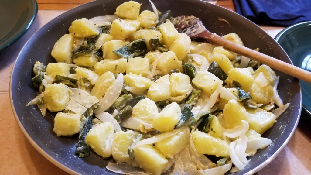 Potatoes with Cream & Poblano Peppers