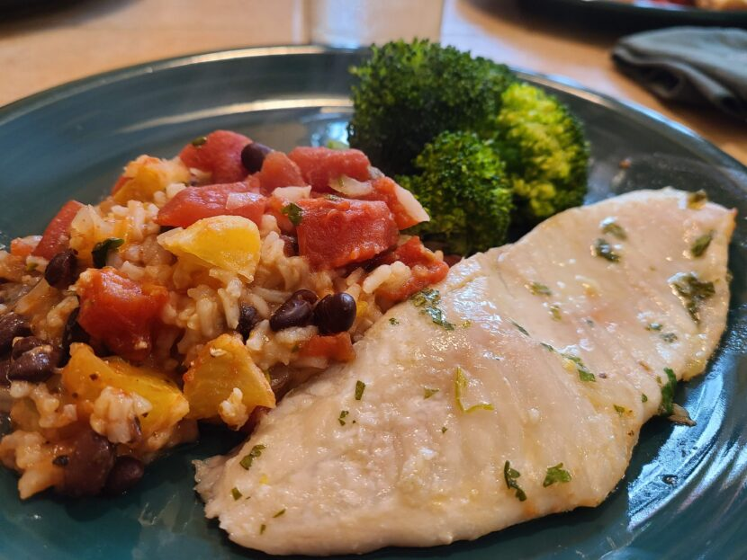 Costa Rica - Fish with a side of rice, tomatoes and oranges